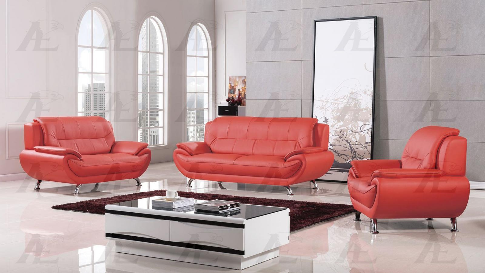 American Eagle AE208-RED Sofa Loveseat and Chair Set Bonded Leather 3Pcs