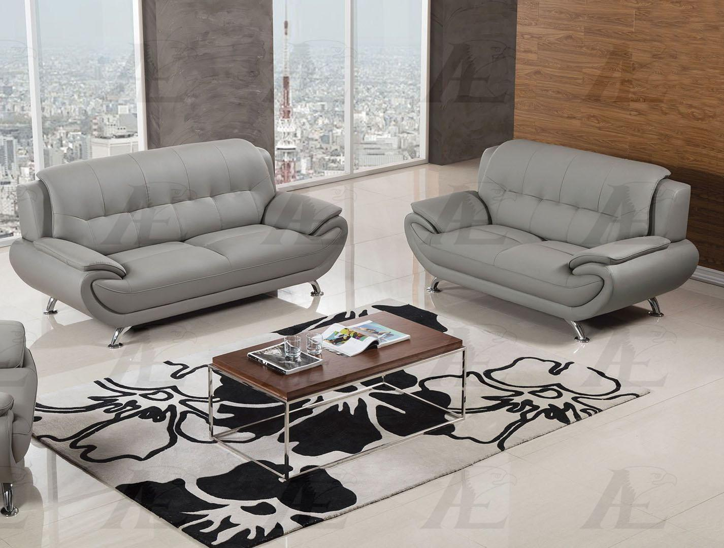 American Eagle AE208-GR Gray Sofa and 2 Loveseats Set F/ Leather 3Pcs