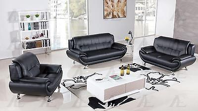 American Eagle AE208-BK Black Sofa Loveseat and Chair Set Bonded Leather 3Pcs