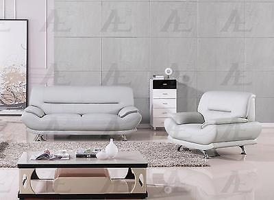 American Eagle  AE709-LG Light Gray Sofa and Loveseat Faux Leather  Set 2Pcs