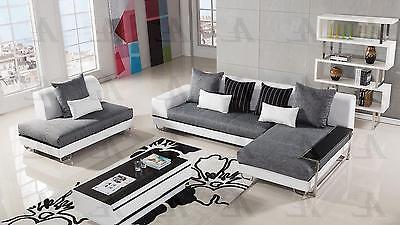 American Eagle AE-L131 Gray Fabric Sectional Sofa Living Room Set Right  4pcs