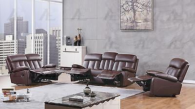 American Eagle AE-D825-DB Dark Brown Recliner Sofa  Loveseat and Chair Set 3Pcs