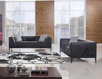 American Eagle  AE-D820-BK Black Sofa and Loveseat Set Bonded Leather 2Pcs