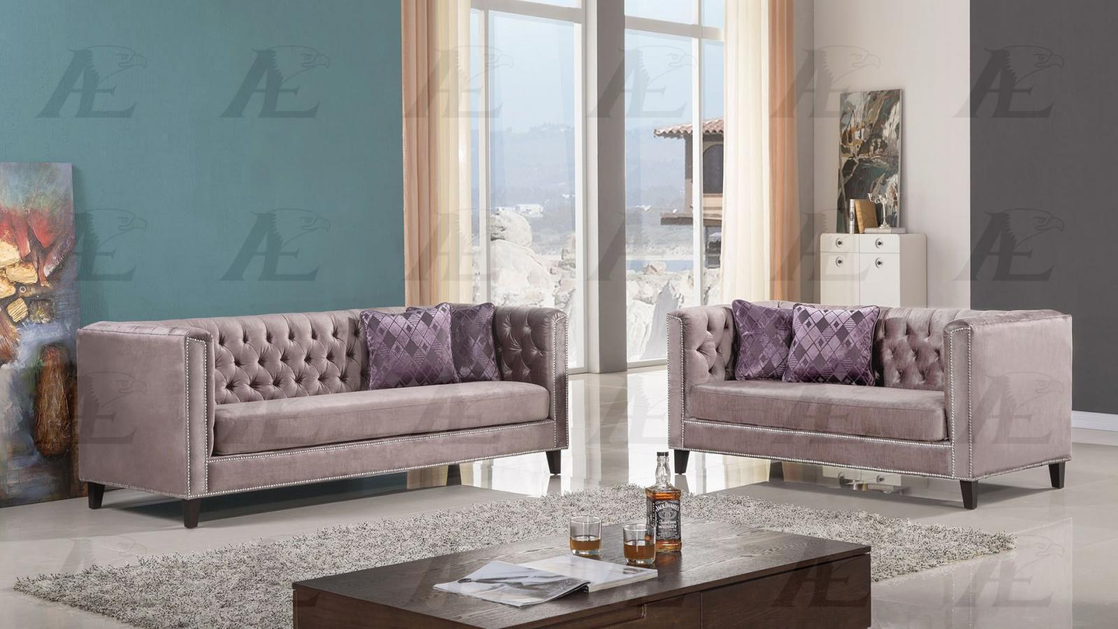 American Eagle AE2373-DB Dusty Brown Fabric Sofa and Loveseat Set 2Pcs