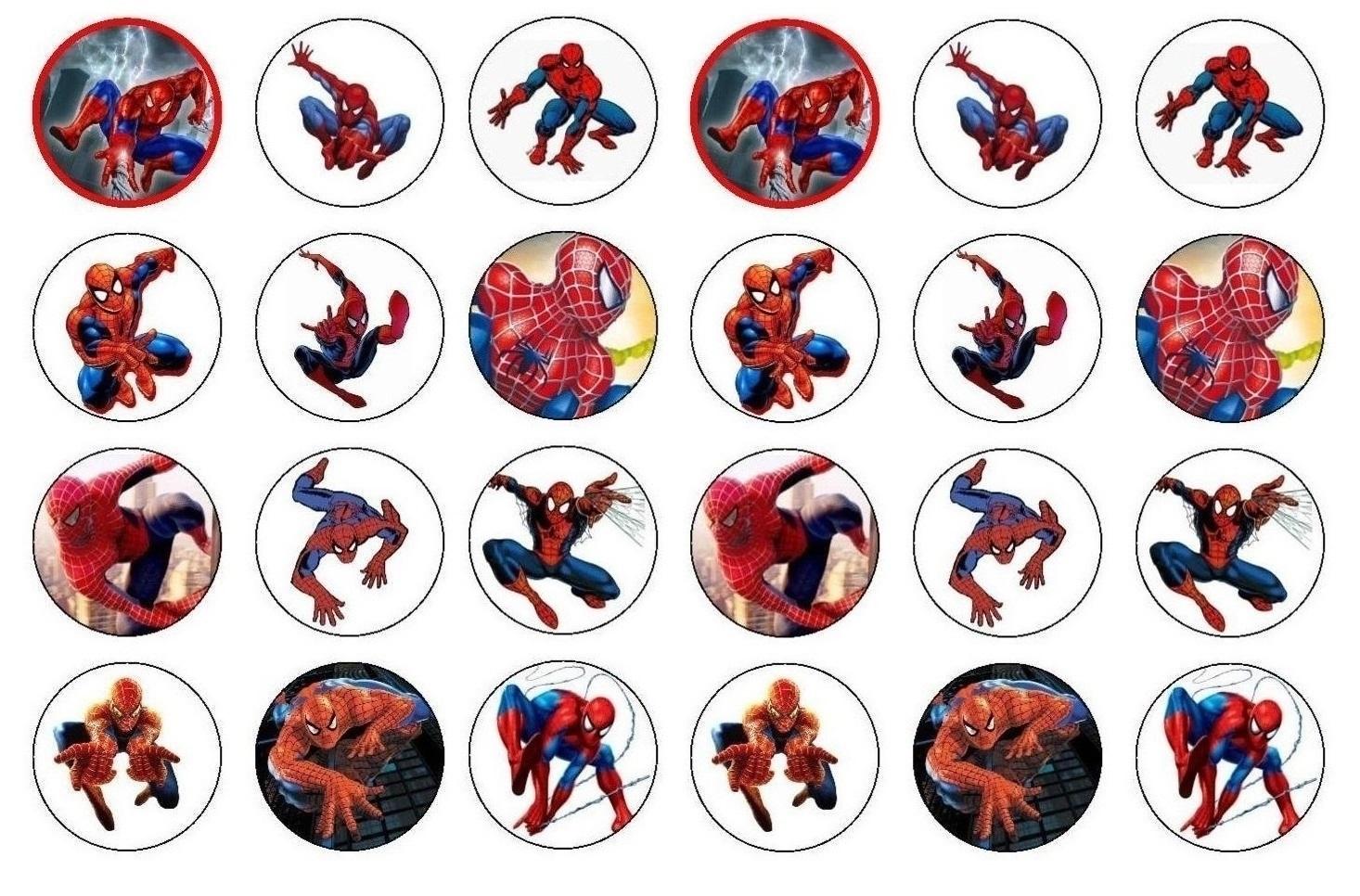 Spiderman cupcake / cookie toppersx24 per sheet ...