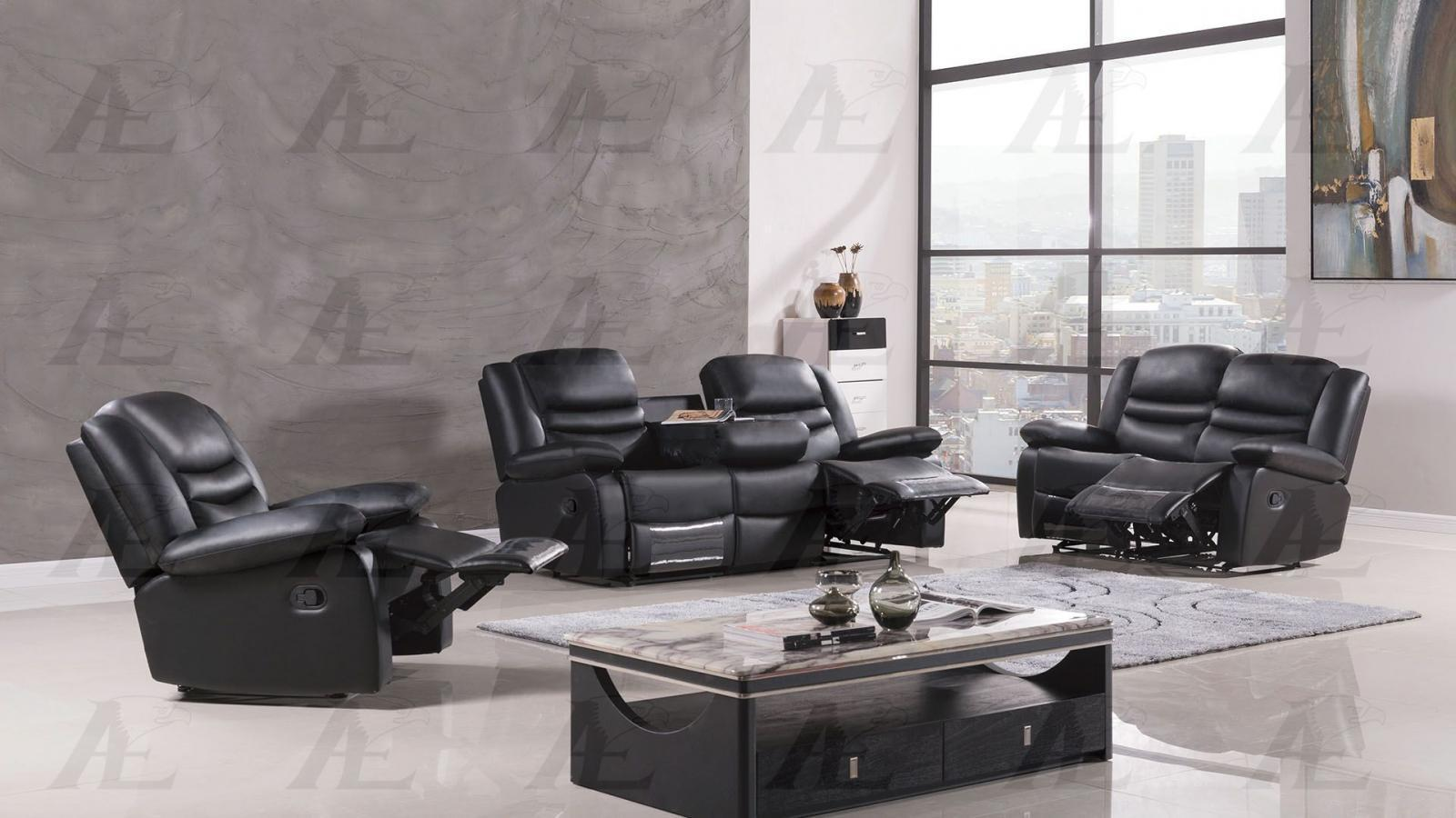 American Eagle AE-D823-BK Black Recliner Sofa Loveseat and Chair Set 3Pcs