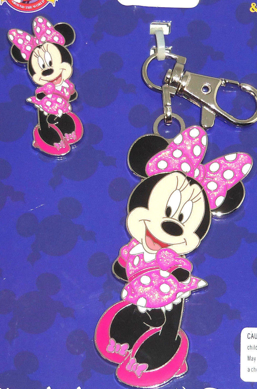 Disney Minnie Mouse Pin Lanyard Metal Trading Pins Theme Parks New