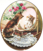 Cat Kitty Collector Plate Fairest of All Mirror Roses Jewelry Bradford E... - $59.95