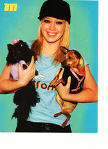 Hilary Duff teen magazine pinup clipping holding two dogs black hat