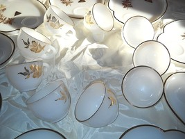 NEW VTG Lot 19 22K Federal Glass Gold Milk TV Snack Patio Dishes Cups Se... - $118.80