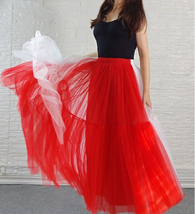 Red White Long Tulle Skirt Outfit Contrast Color Tutu Skirt Plus Size High Waist image 7