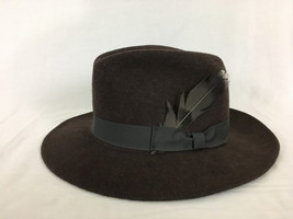 Country Gentleman Brown Fedora 100% Wool Medium Feather Made in USA - $39.99