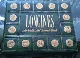 Elegant LONGINES Leather Wrapped Case Box Gold Imprinted Medallions - $49.95