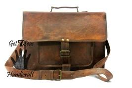 Leather satchel men's shoulder women messenger briefcase men laptop brown bags - $68.30