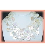 5 Strand White Abalone MOP Shell Necklace Earrings Set - $27.99