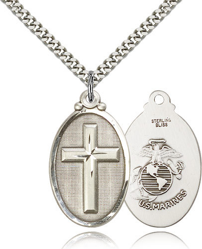 Sterling Silver Cross / Marines Military Medal-24 Inch Necklace For Men 4145YSS4