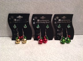 Fun Earring Duo set studs danglers bells snowflake wreath Christmas tree choice