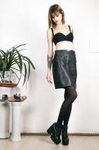Faux leather skirt 80s black glam high waisted mini skirt - $33.80