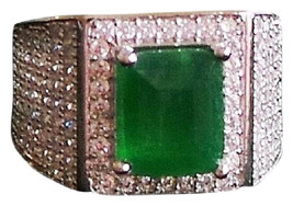 Elegant Emerald and Cz 925 Sterling Silver 14k Ring 6.5 - $145.00