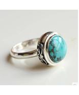 Nepal TURQUOISE ring finger ring  silver handmade - $95.95