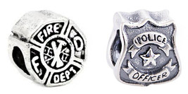 Police Cop Officer protect Fire fighter badge Charm F/ DIY European Brac... - $9.89 - $9.89