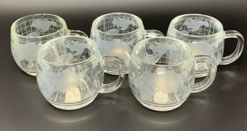 Primary image for Set of 5 Nestle Nescafé World Globe Mugs Etched & Frosted Glass Coffee Cups 3074