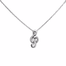 Tiny Silver Treble Clef Necklace, Musical Jewelry, Solid 925 Sterling Si... - $16.00