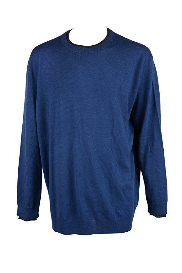 Club Room Solid Merino-Blend Crew-Neck Sweater, Blue, XL