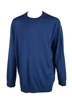 Club Room Solid Merino-Blend Crew-Neck Sweater, Blue, XL - $37.13
