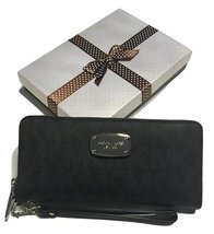 Michael Kors ZA Travel Continental Jet Set Clutch Wallet Wristlet with G... - $192.06