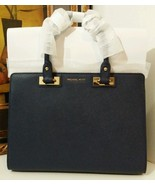 NWT MICHAEL MICHAEL KORS Quinn Large Saffiano Leather Satchel Navy $378 - $289.00