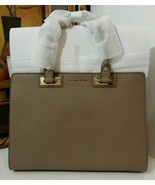 NWT MICHAEL MICHAEL KORS Quinn Large Saffiano Leather Satchel DARK DUNE ... - $289.00