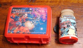 Vintage 1984 TRANSFORMERS Red Plastic Collectible ALADDIN Lunch Box + Th... - $31.44