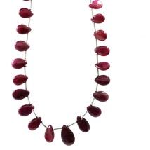 21 Carat 3x5-4x6 MM Natural Ruby Smooth Pear Shape 9 Inch Beads - $42.99