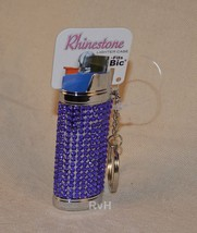 Rhinestone Lighter Cover/Sleeve (for REGULAR BICs) Purple (R5)
