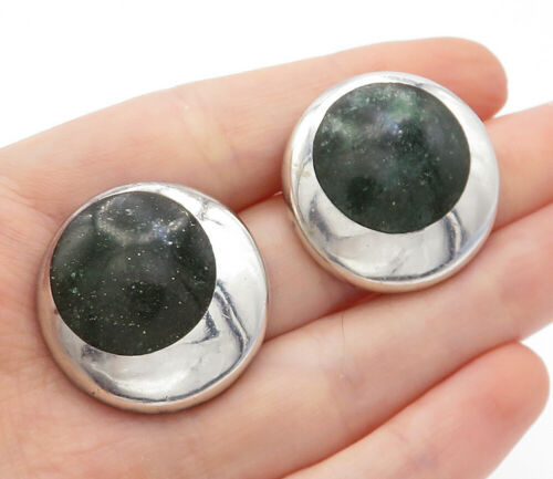 Primary image for ANTONIO MEXICO 925 Silver - Vintage Malachite Round Drop Earrings - E8259