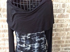 Pieces Kensie Sz 6 Black White Print Sheath Dress Modern Cowl Neck NWOT    - $29.09