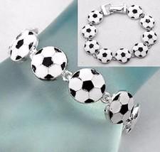 Soccer Ball Bracelet Magnetic Link  Jewelry Sport Mom Kick Ball Score Fi... - $16.47