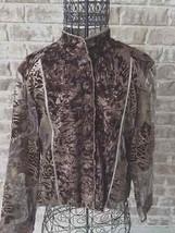 Chicos Sz 1 Tan Brown Jacket Embossed Leaves Satin Velvety Feel Front Bu... - $24.24