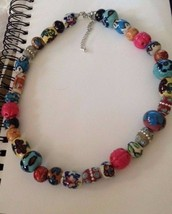 "Handmade Beaded Necklace Glass Wood Materials 16"" 3"" extender OOAK Brand... - $38.79"