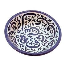 Moroccan Hand Painted Medium Ceramic Black Fes Bowls Set of 2 - $564,54 MXN