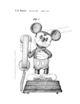 Mickey Mouse Telephone Patent Print - White - $7.95+