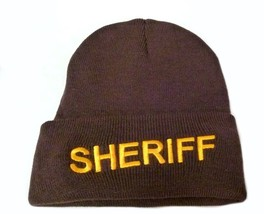 Brown Watch Cap Beanie Sheriff Gold Embroidered Letters Knit One Size New - $15.49