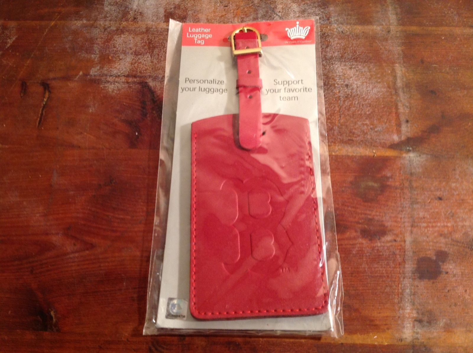 Officially Licensed MLB Boston Red Sox Leather Luggage Tag NEW