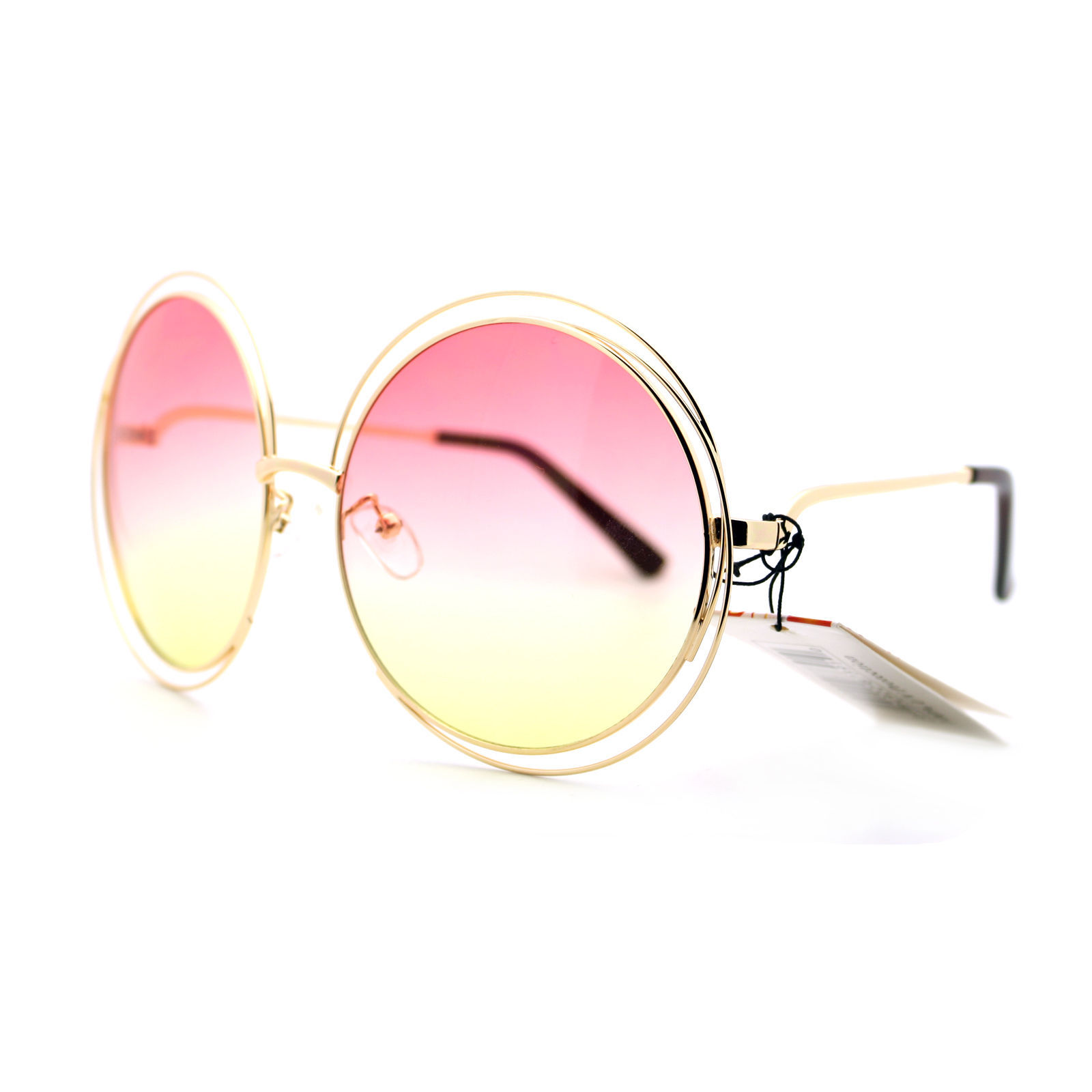Womens Super Oversized Designer Sunglasses Round Circle Wire Metal Frame
