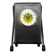 Kazakhstan Coat Of Arms Leather Pen Holder Desk Clock - Heraldic Surcoat - $16.98
