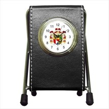 Liechtenstein Coat Of Arms Leather Pen Holder Desk Clock - Heraldic Surcoat - $16.98