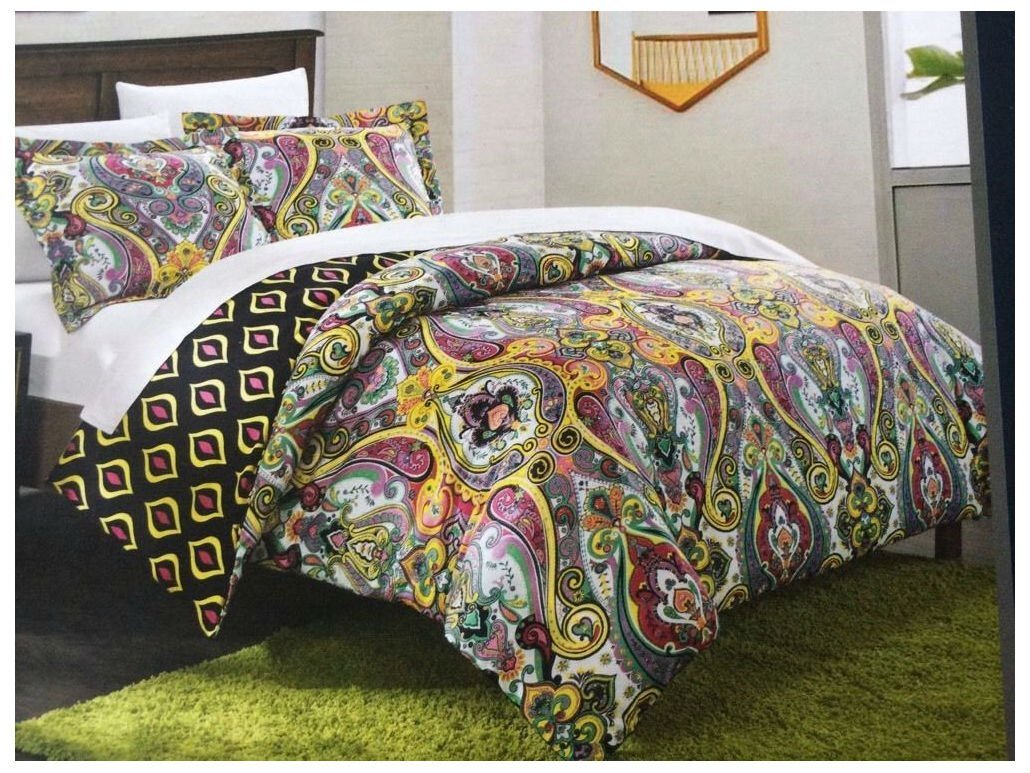 NEW Chic Home Paisley Reversible Duvet Set Twin Purple Yellow Teal Colorful Boho