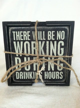 Set of 4 Wooden Black Bar/Beer Related Coasters with Funny Sayings - NEW