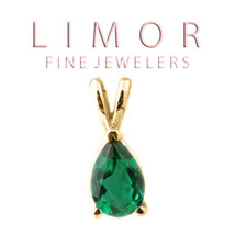 2.00 Carat 14K Solid Yellow Gold Pear Shape Emerald Pendant Basket Setting - $118.79